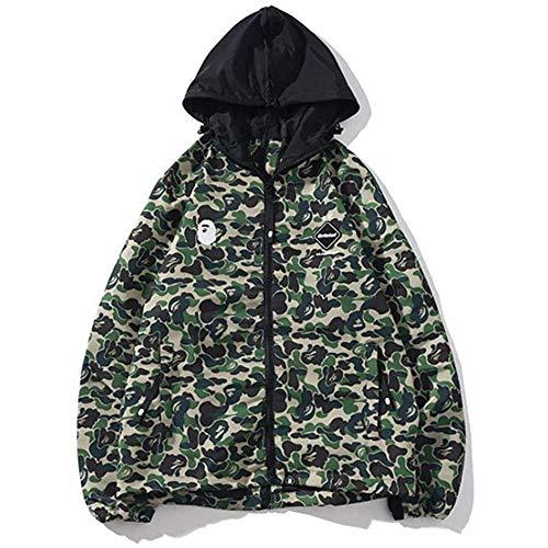 Bape Ape Shark - Sudadera con capucha unisex para adolescentes y adultos, diseño de camuflaje, color verde, talla XL