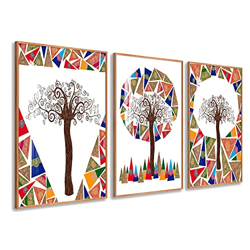 DekoArte - Quadri Decorazione | Moderno Sofisticato con Cornice in PVC | Trittici Decorativi Per Sala o Camera da letto | Poster con acrilico 0,5mm | Nature, Albero, Mosaico, Klimt | 3 pezzi 150x70 cm