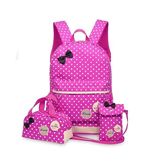WSLCN Conjunto de mochilas de lona para meninas, mochila escolar com zíper, bolsa de viagem, bolsa de ombro, bolsa de ombro para crianças, bolsa de ombro, bolsa de laptop, bolsa de ombro casual, estojo de lápis de bolinhas, 3 peças, rosa