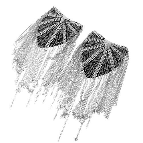 MagiDeal 1 Paar Elegante Schulterklappe Brosche mit Quastenkette - Unisex Schmuck - Silber