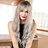 Long Wavy Wigs with Bangs Ombre Silver Grey Curly Wave Wig Middle Parting Natural Looking Wig Synthetic Wigs for Women Daily Party Use 26 ""