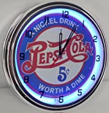 PEPSI COLA - 5 CENTS WORTH A DIME 15' NEON LIGHTED WALL CLOCK POP SHOP BAR VINTAGE STYLE GARAGE SIGN BLUE