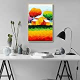 Arte Imprimir Lienzo Creativo Pintura Hermoso Paisaje Rural Resumen Pintura al óleo Colorido Pared Decoración,NoFrameA,40x60cm