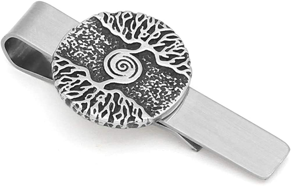 GuoShuang Stainless Steel Nordic Viking Yggdrasil treee of Life Amulet Tie Clips