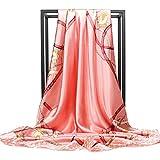 Pañuelo de seda para mujer con patrón de cinturón de satén cuadrado grande 35 pulgadas - Rojo - 89 cm