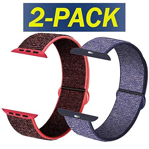 INZAKI Sportriemen Kompatibel mit Apple Watch 42 mm 44 mm, weicher Sportschlaufe, Riemenersatz für iWatch Serie 5, Serie 4, Serie 3, Serie 2, Serie 1,Rot schwarz&Midnight Blue