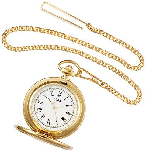 [セイコーウォッチ] 懐中時計 アルバ ポケットウオッチ ゴールド 蓋付き ローマ数字 AQGK450