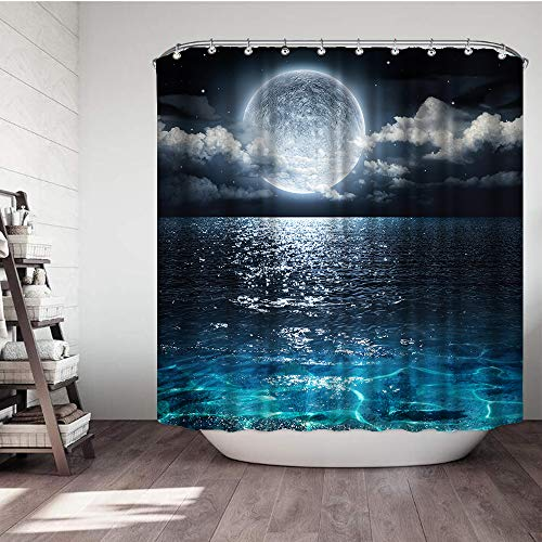 VividHome Shower Curtain Full Moon Over Ocean Landscape Waterproof Fabric Shower Curtain for Bathroom Decor Set with Hooks 72 x 72 Inches