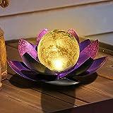 QZZP Solar Lights Outdoor Garden Decor, Crackle Globe Glass Lotus Decoration, Outside Waterproof Purple Metal Flower for Pathway, Walkway, Patio, Yard, Lawn, Tabletop, Ground