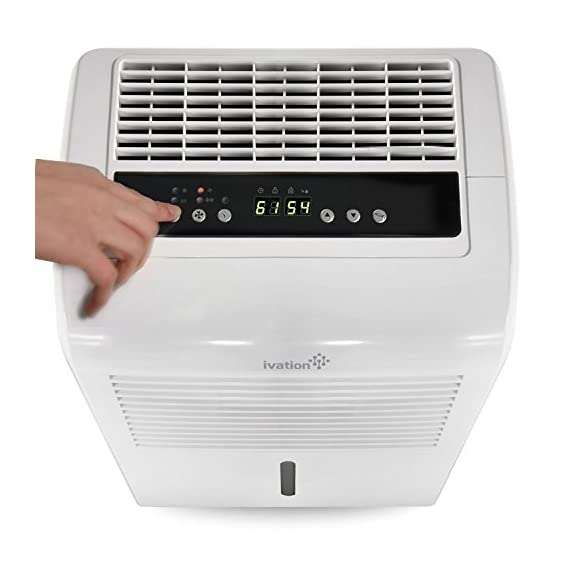 Ivation 4,500 sq ft energy star dehumidifier, large capacity compressor dehumidifier includes programmable humidistat… 5 this compressor dehumidifier keeps spaces up to 4,500 sq. Ft. Cool & comfortable by removing 50 pints of moisture/day (70 pint according to the old doe standards, in 2019 this was classified as 70 pint and it now needs to be classified as 50 pint but it removed the same moisture as the old 70 pint) built-in humidity sensor - the lcd accurately displays the current humidity level in the room, enabling you to set your ideal levels for automatic moisture control low maintenance & easy operation; simply plug-in, select settings & empty 2. 25 gallon reservoir