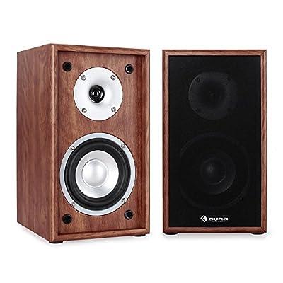 AUNA Line 300-SF-WN 2-Way Passive Bookshelf Speakers Pair 150W Walnut by AUNA