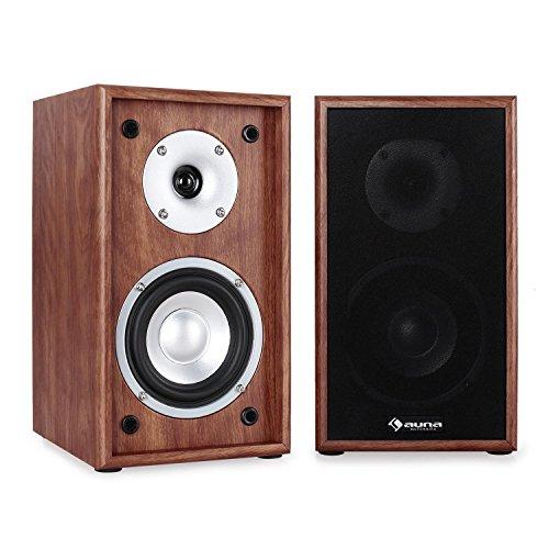 auna - Linie 300 SF-WN, Regallautsprecher, Lautsprecher-Boxen, HiFi-Boxen, Lautsprecher-Paar, 2-Wege-System, 13cm (5