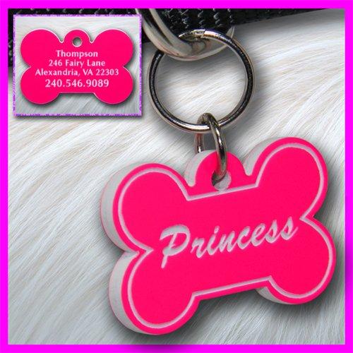 Personalized Custom Engraved Plastic Pet Dog ID Tag 2-sided Bone Pink/White