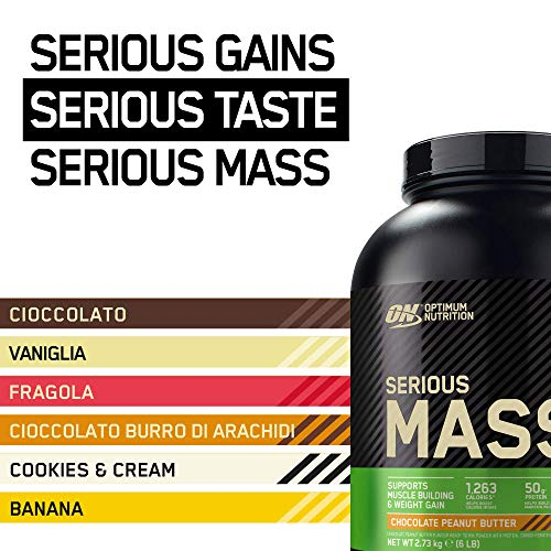 Optimum Nutrition Serious Mass Gainer, Proteine Whey in Polvere per Aumentare la Massa Muscolare con Creatina, Cioccolato Burro di Arachidi, 8 Porzioni, 2.73 kg, il Packaging Potrebbe Variare
