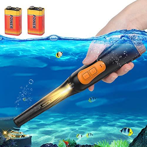 AFOZO Detector de Metales Pinpointers Totalmente IP68 Resistente al Agua hasta 10 Metros Detector de Metales de Mano subacuático Varita 360 ° Ultra Sensible con Funda para Adultos Niños (Negro)