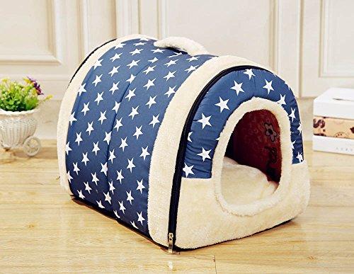 Hundehaus Hundehöhle mit Kissen, Stoff Weicher Bezug, Faltbar, Waschbar, für Kleine Hunde (M, Blau mit Stern dot)