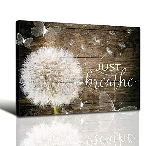 White Dandelion and Butterflies Just Breathe Quotes Poster Brown Rustic Wall Art Canvas Paintings...