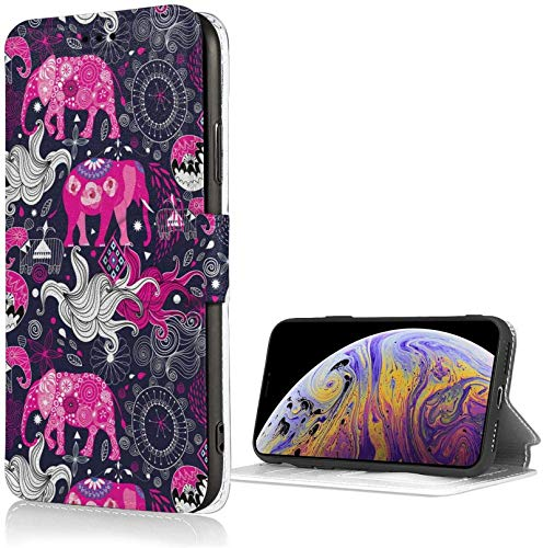 Romance-and-Beauty Funda Profile Pink Elephant para iPhone X/XS Funda Tipo Cartera de Cuero PU de Lujo Funda con Tapa Tipo Folio con Ranuras para Tarjetas Correa de muñeca