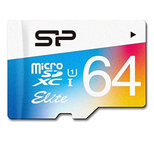 Silicon Power 64GB MicroSDXC UHS-1 Class10, Elite Flash memory Card with Adapter (SP064GBSTXBU1V20AE)