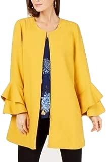 Alfani Flared-Sleeve Collarless Jacket Marigold Petal Size Medium