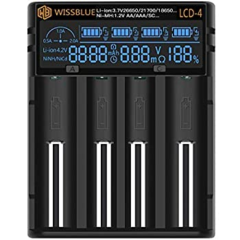 WISSBLUE 18650 Battery Charger LCD Screen Can Display Capacity 2A Fast Charger Suitable for 3.7V Lithium Battery and 1.2V Ni-MH/Ni-Cd AA AAA Battery
