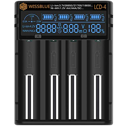WISSBLUE 18650 Battery Charger, LCD Screen Can Display Capacity, 2A Fast Charger, Suitable for 3.7V Lithium Battery and 1.2V Ni-MH/Ni-Cd AA AAA Battery