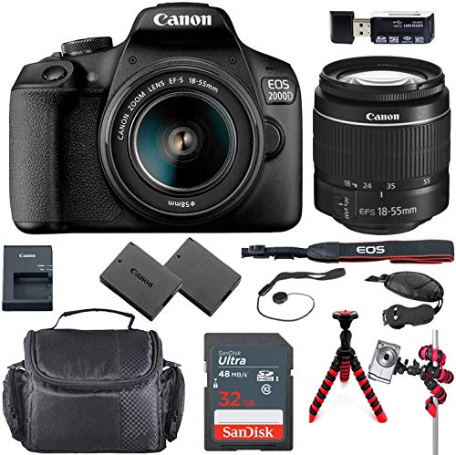 Canon EOS 2000D (Rebel T7) DSLR Camera Bundle with 18-55mm Lens + Sandisk 32GB Memory Card + Travel Accessory Kit