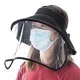 Fancet Womens Packable UPF50 Straw Sun Hat with Transparent Shield Summer Beach Wide Brim UV Hat Black