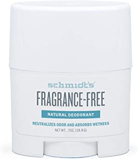Schmidt's Natural Deodorant - Fragrance-Free, Unscented, Aluminum-Free Odor Protection & Wetness Relief, Travel Size 19.8 ...