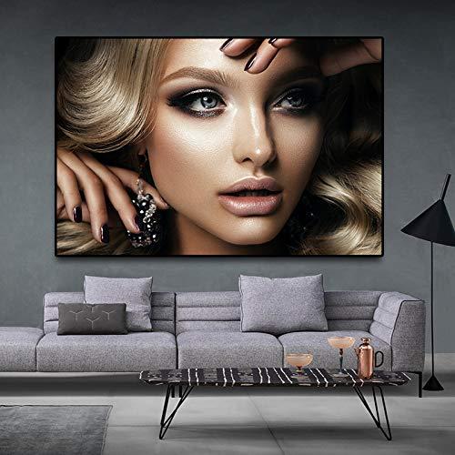 GJQFJBS Schwarz Und Gold Sexy Indische Schönheit Malerei Auf Der Leinwand Poster Poster Wohnzimmer Wandbild (Kein Rahmen) A1 30x40 cm