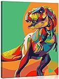 MILEADER Pintar por Numeros Kits 16 * 20 Pulgadas DIY Pintura al óleo Kit sobre Lienzo para Adultos Niños Principiantes con Pinceles y Pinturas - Dinosaurios Coloridos (con Marco de Madera)