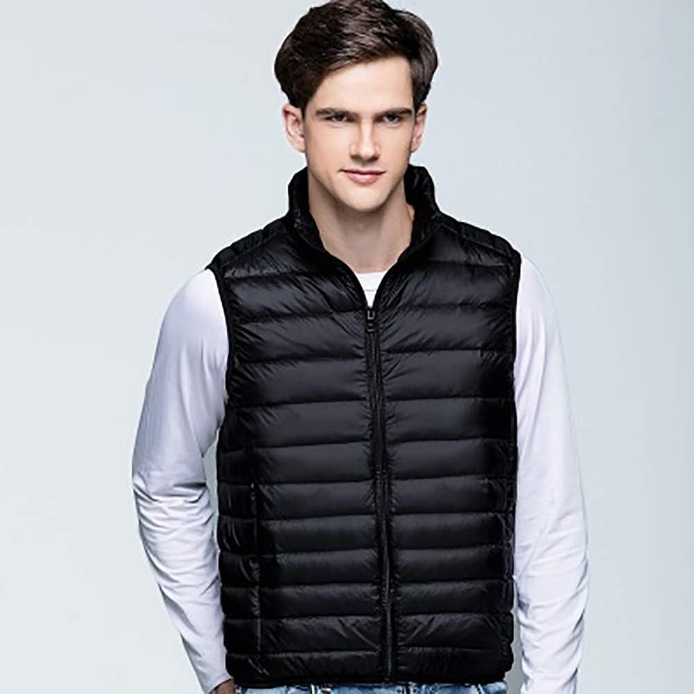 MIAOLEIE Winter Men Ultra Light Duck Down Vest Jacket Mens Cotton Warm Parka Jacket Male Casual Short Sleeveless Waistcoat,XXXL
