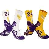2 Pares de Calcetines de Baloncesto de élite para Hombres, Calcetines Deportivos Lakers n. ° 24, Calcetines de fútbol, Calcetines de Boxeo Antideslizantes, Calcetines Deportivos para Hombres-