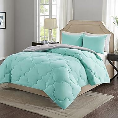 Comfort Spaces – Vixie Reversible Goose Down Alternative Comforter Mini Set - 3 Piece – Aqua Grey – Stitched Geometrical Pattern – Full/Queen Size, Includes 1 Comforter, 2 Shams