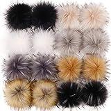 Tengsen 16 pcs 10 cm Faux Fur Pom Pom Balls Faux Fox Fur Pom Poms Fluffy for Hats Scarves Gloves Bags Accessories (8 Colors, 2 Pcs Per Color)