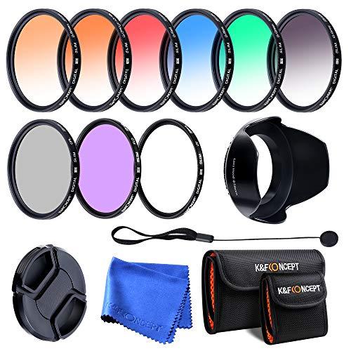 K&F Concept - Kit de Filtros para Objetivo 52 mm UV, CPL, FLD + Naranja Graduado, Azul Graduado, Gris Graduado, Rojo Graduado, Verde Graduado, Marrón Graduado