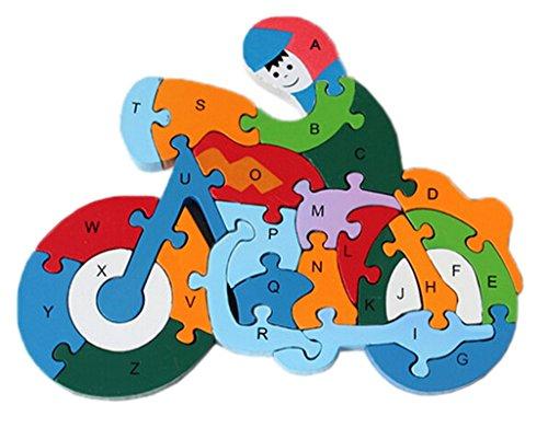 Bigood Jouet Bébé Enfant Puzzle en Bois Alphabet Chiffre Cognition Moto Réveil