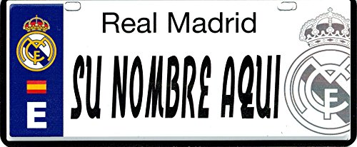 Real Madrid FC Matrícula Personalizable con Nombre - 6 x 14 Centímetros