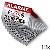 Autocollant alarme système électronique logo 771 logo 2 apparence Inox lot de 12...