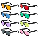 Neon Colors Lens Party Favor Supplies Unisex Sunglasses Pack of 8 (Black Mix)