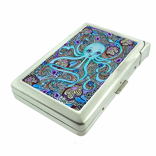 """Cigarette Case with Built in Lighter Vintage Psychedelic Trippy S5 Smoking King Size Cigarettes Silver Metal Wallet 4"""" X 2.75"""" RFID Protection Weird Strange"""
