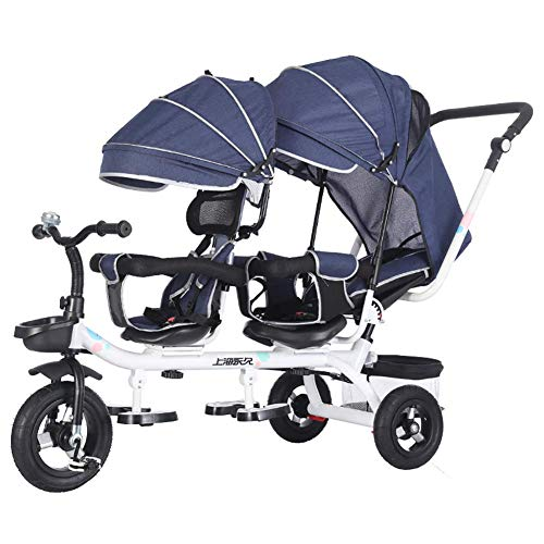 GST Triciclos Niños 4 en 1 Triciclo para niños Triciclo Doble Asientos para Gemelos, bebé bebé 3 Ruedas Cochecito Bicicleta con Dosel y Cesta (Color : B)