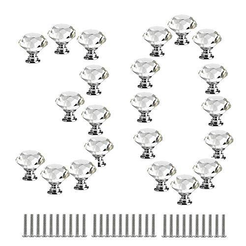 GNSDA 30 Pezzi di Alta qualità pomelli per armadi in Vetro tiri per Cristallo Trasparenti Diamante da 30 mm per Cucina, Armadio da Bagno, cassettiera e Armadio