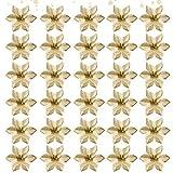 30Pcs Purpurina Flores artificiales,Flores Navidad Artificiales,Flores artificiales de Navidad,Flores Artificiales de Poinsettia,Navidad Decoración Adorno,Florales para Decoración de Navidad (dorado)
