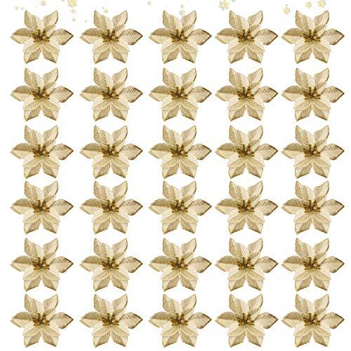 30Pcs Purpurina Flores artificiales,Flores Navidad Artificiales,Flores artificiales de Navidad,Flores Artificiales de Poinsettia,Navidad Decoración Adorno,Florales para Decoración de Navidad (