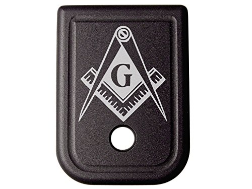 Magazine Base Plate for Glock 9mm .357 .40 .45GAP Black NDZ - Masonic Mason Calipers G Logo