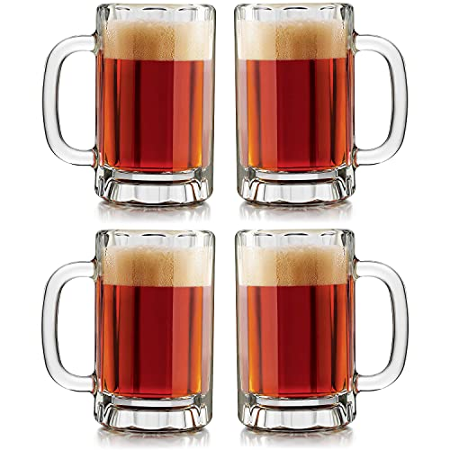 Glass Beer Mug with Handle, 16 ounces (Set of 4)
