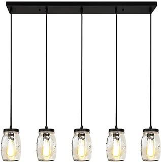 LMSOD Kitchen Island Light,5 Lights Linear Pendant Lighting,Glass Mason Jar Hanging Lamp