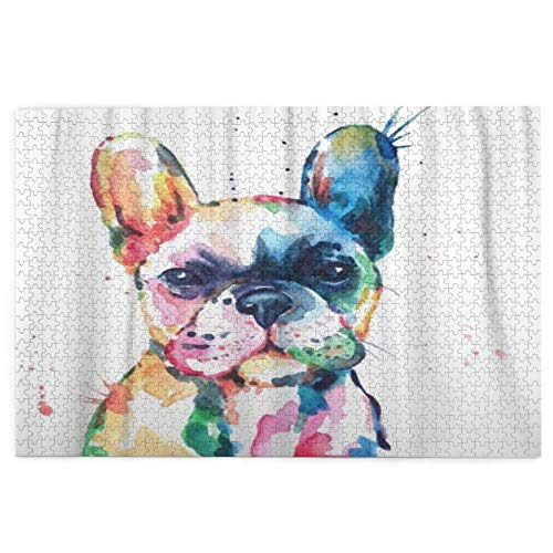 Jigsaw Puzzles 1000pieces,Frenchie French Bulldog Original Watercolor Of Dog Funny Happy,LargePuzzleFamily Educational GameArtworkforAdult KidsTeens 29.5'x19.5'