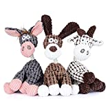 Zagrine Squeaky Plush Dog Toys Pack for Puppy, 3 Pack Durable Stuffed Animal Plush Chew Toys with Squeakers, Cute Soft Dog Toys for Teeth Cleaning, for Small Medium Large Dogs
